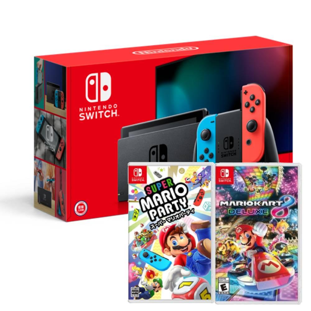 【預購】Nintendo Switch主機電光紅藍(電池加強版)+瑪利歐賽車8豪華版中文版+超級瑪利歐派對亞版中文版