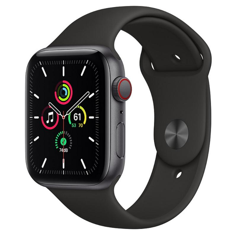 Apple Watch SE LTE 44mm 太空灰色鋁金屬-黑色運動型錶帶【新品上市 現貨賣場】