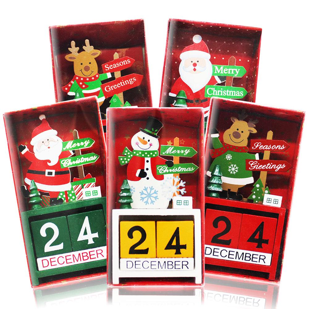歐沛媞 聖誕木質倒數日曆/月曆/萬年曆-雪人(8x3.5x15cm)-耶誕新年交換禮物