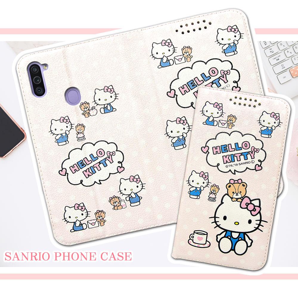 三麗鷗授權 Hello Kitty貓 三星 Samsung Galaxy M11 粉嫩系列彩繪磁力皮套(小熊)