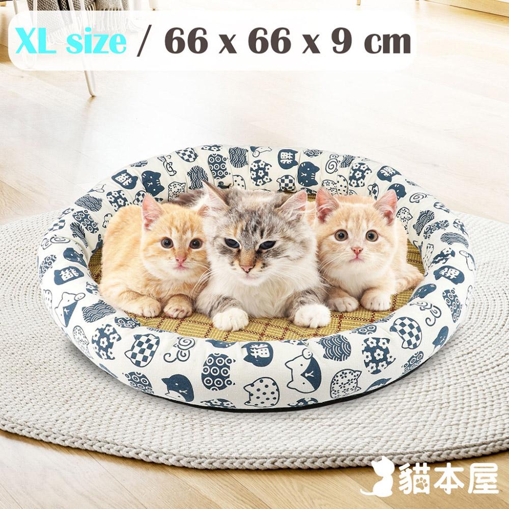 貓本屋 日式和風寵物涼蓆墊(XL號/66x66cm)-白底藍貓