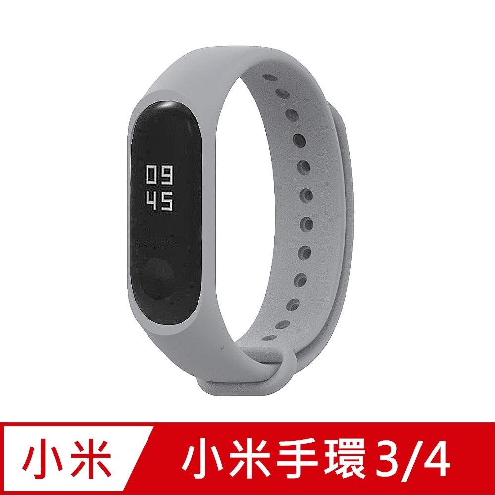 小米手環4代/3代通用 矽膠運動替換錶帶-銀灰色