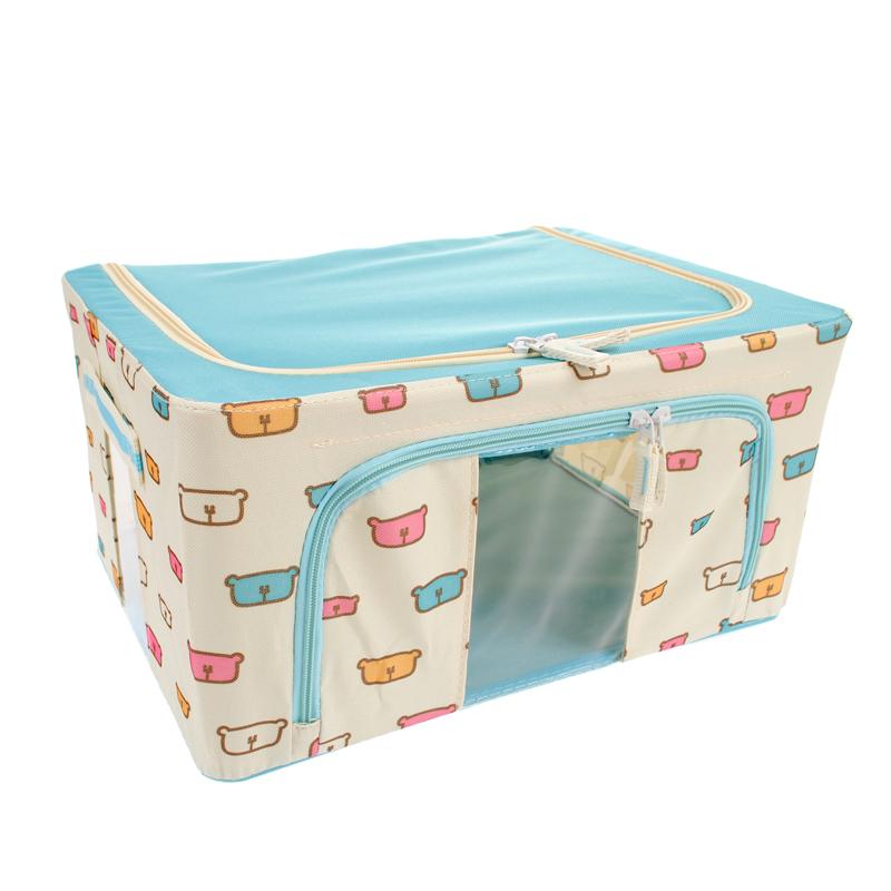 【網狐家居】防潑水牛津布折疊防塵收納箱(66L/藍熊)