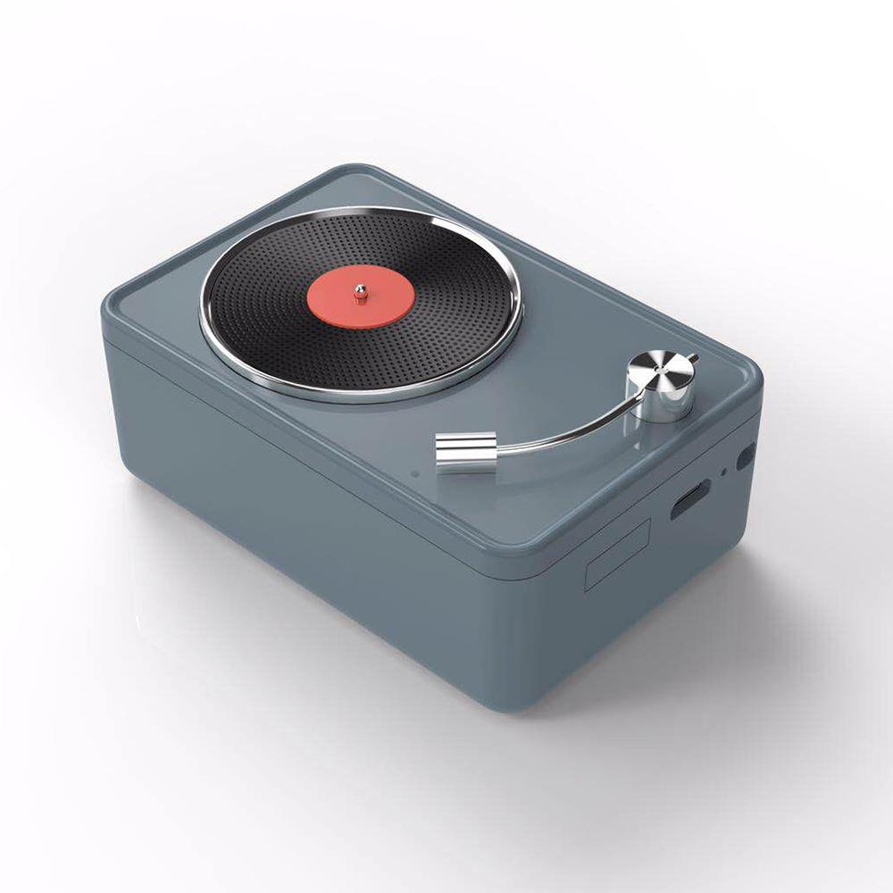 復古黑膠機藍牙音箱喇叭-灰