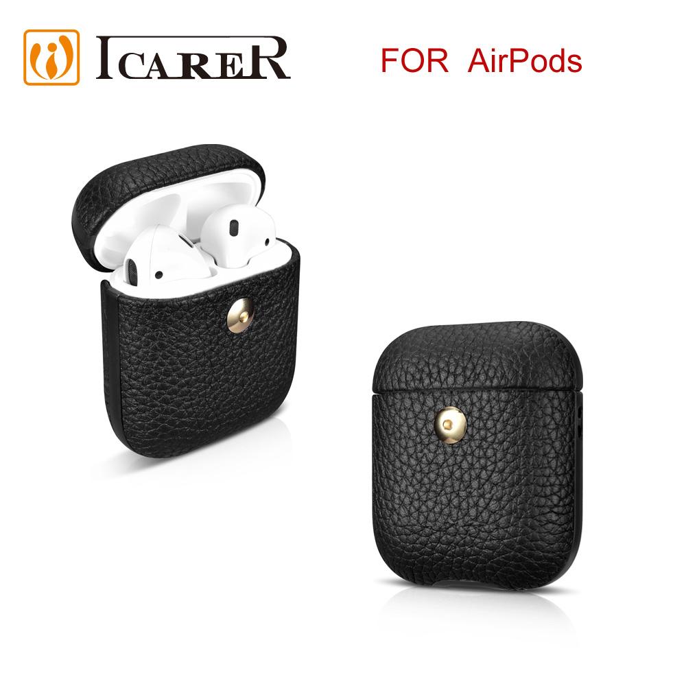 ICARER 荔枝紋系列 AirPods 手工真皮保護套-黑