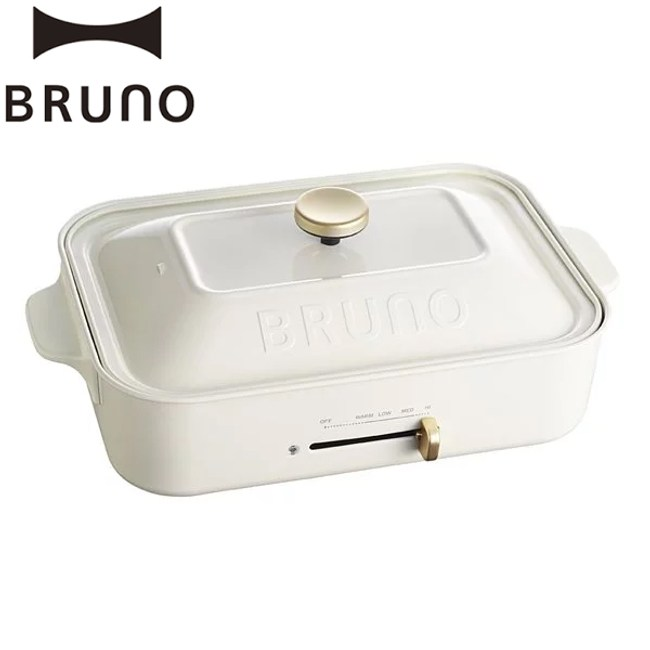贈日本不鏽鋼料理夾【日本BRUNO 】超值3件組合 BOE021 多功能電烤盤(白色)公司貨 保固一年 附3個烤盤 料理深鍋+平盤+章魚燒盤
