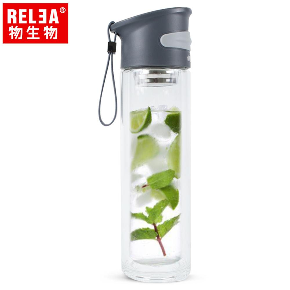 【香港RELEA物生物】350ml學士雙層玻璃杯(省思黑)