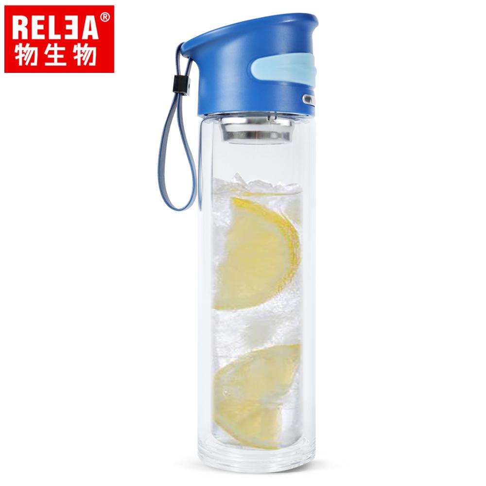 【香港RELEA物生物】350ml學士雙層玻璃杯(浩瀚藍)