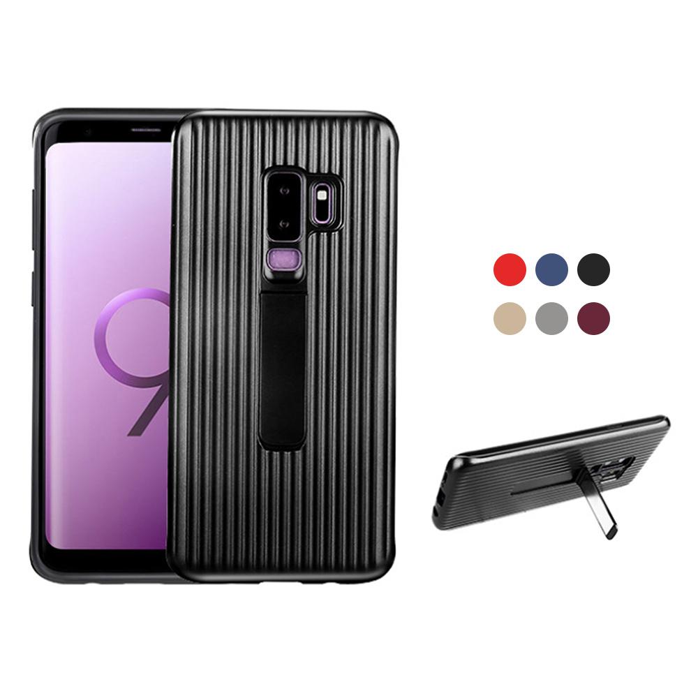 QinD SAMSUNG Galaxy S9+ 獵鷹支架殼(紫色)