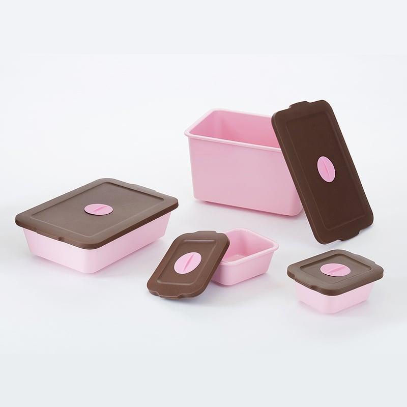 【買一組送一組隨機顏色】-【台灣 S.E.E.】玉米澱粉保鮮盒-馬卡龍粉 四件組