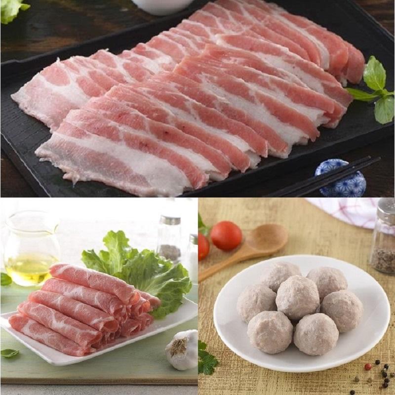 【綠安生活】家香豬-培根(五花肉片)x2+梅花火鍋片x4+貢丸x1-產銷履歷(300g/包)