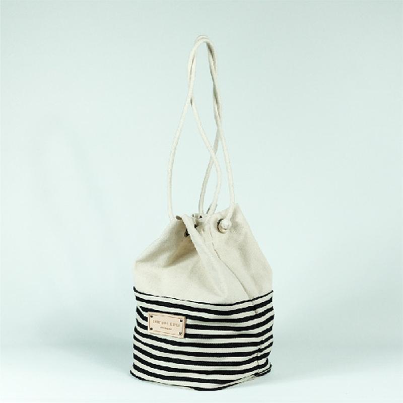 泰國 Something Simple 手作三用水桶包 - 條紋黑