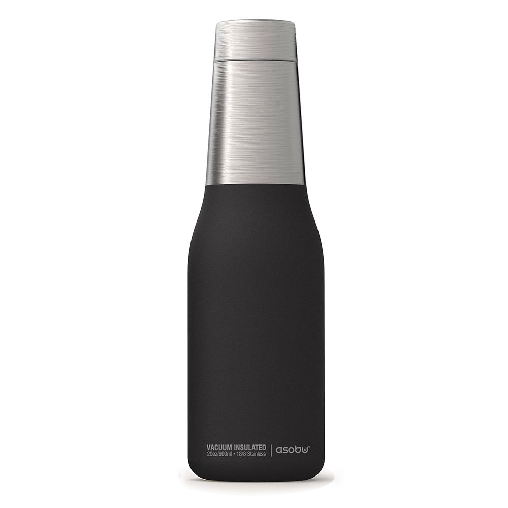 Asobu 不鏽鋼繽紛雙層保溫瓶-時尚黑