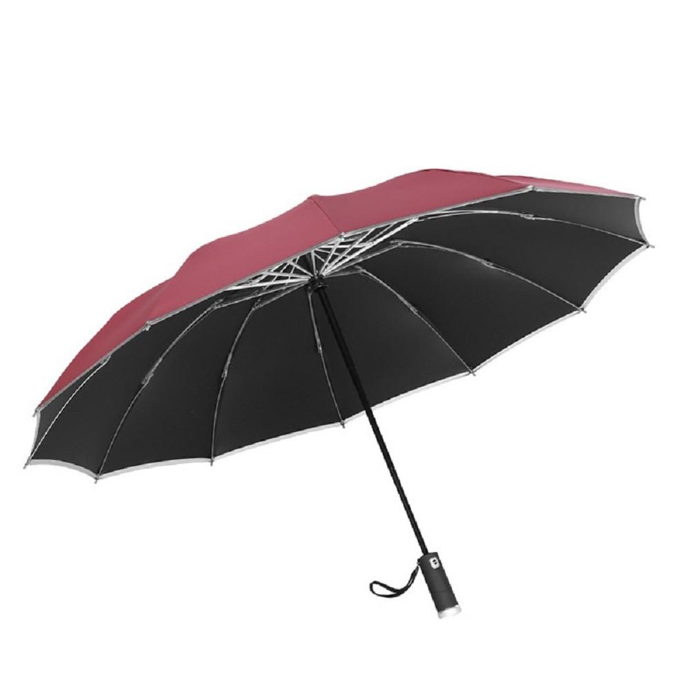 FJ LED全自動12骨反向折疊加大伸縮雨傘UV12紅色