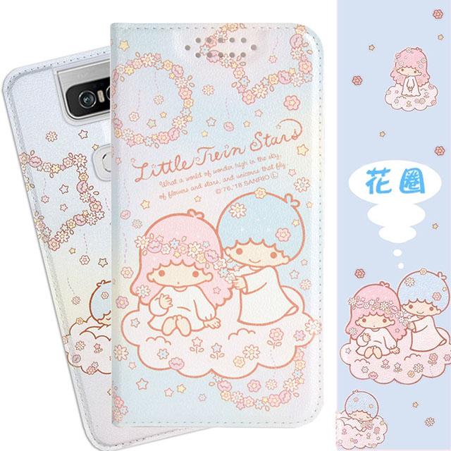 【雙子星】華碩 ASUS ZenFone 6 (ZS630KL) 甜心系列彩繪可站立皮套(花圈款)