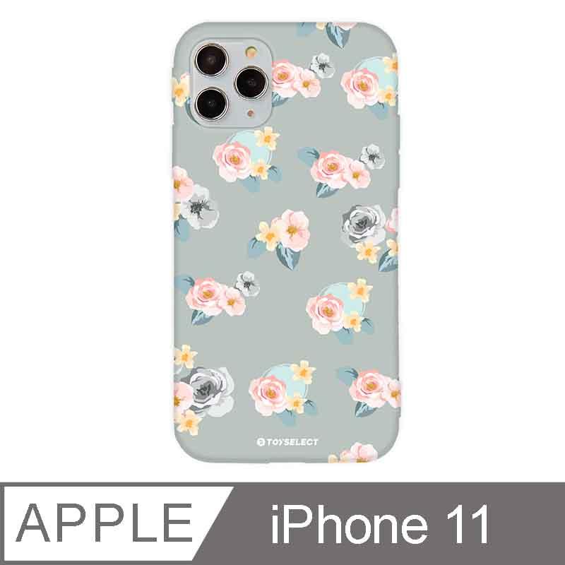 iPhone 11 6.1吋 花言花語Flower Series設計iPhone手機殼 微醺粉玫瑰 淡灰色