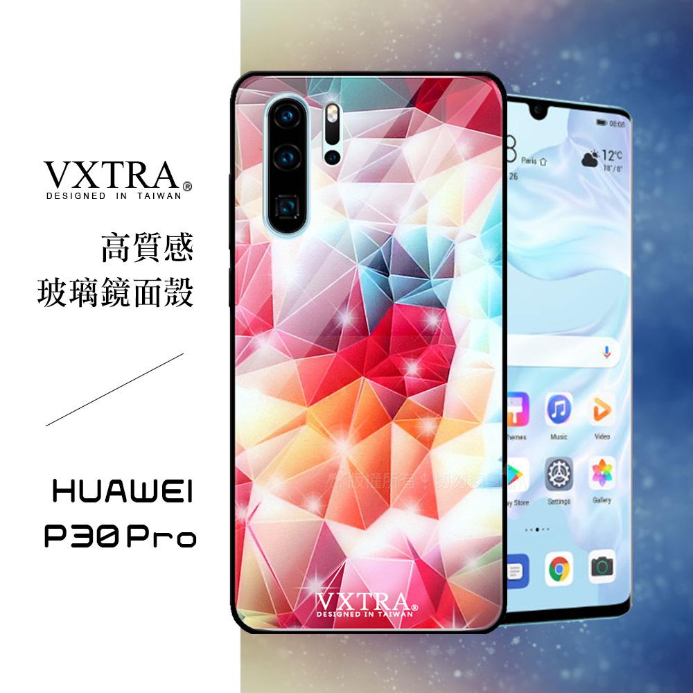 VXTRA 華為 HUAWEI P30 Pro 鋼化玻璃防滑全包保護殼(繽紛閃鑽)