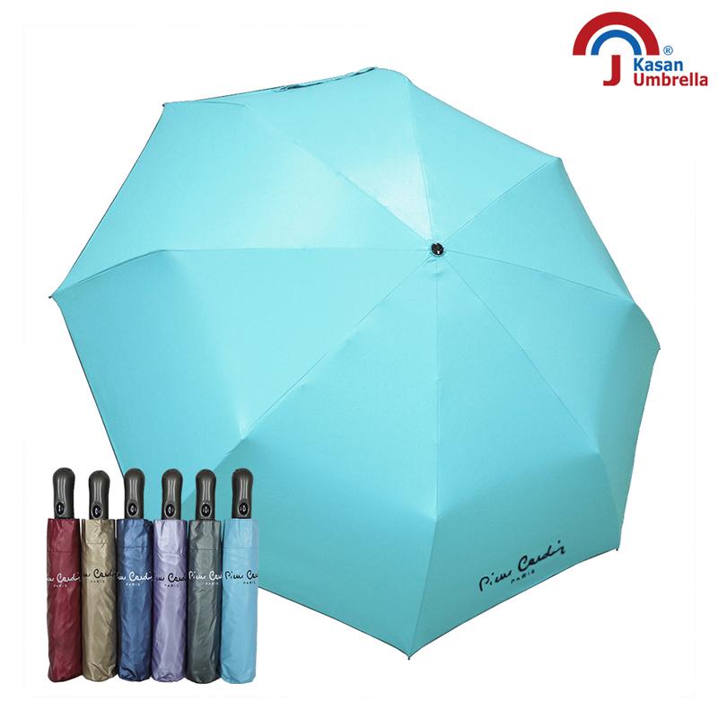 【皮爾卡登】防風自動開收降溫色膠傘-水藍