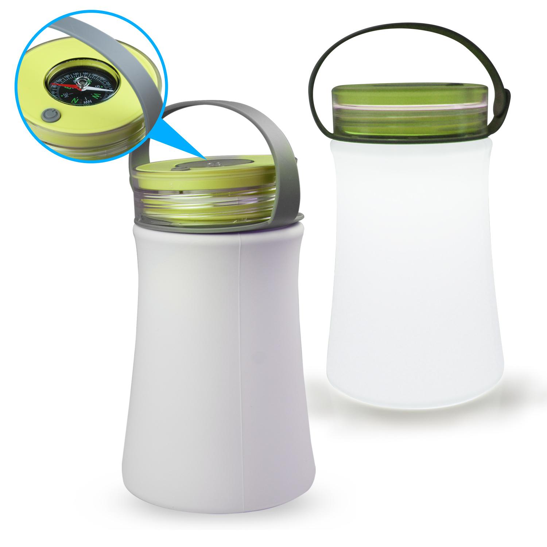 USB充電式 戶外矽膠手提燈(附指南針)-綠色