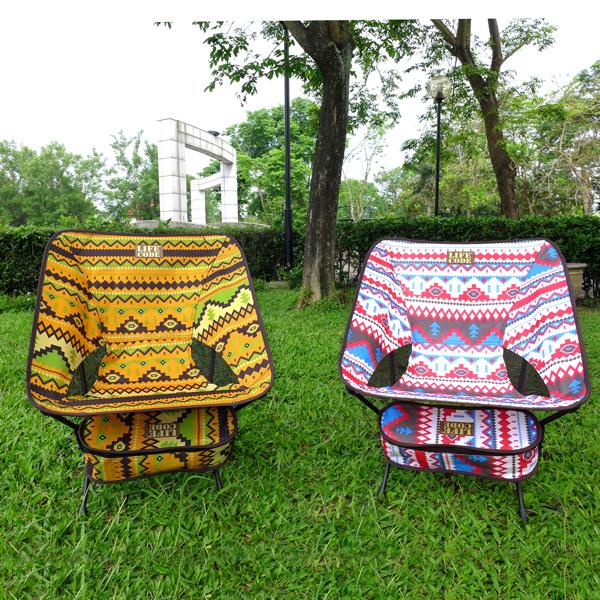 【LIFECODE】羽量級-民族風輕巧蝴蝶椅-紅色+黃色