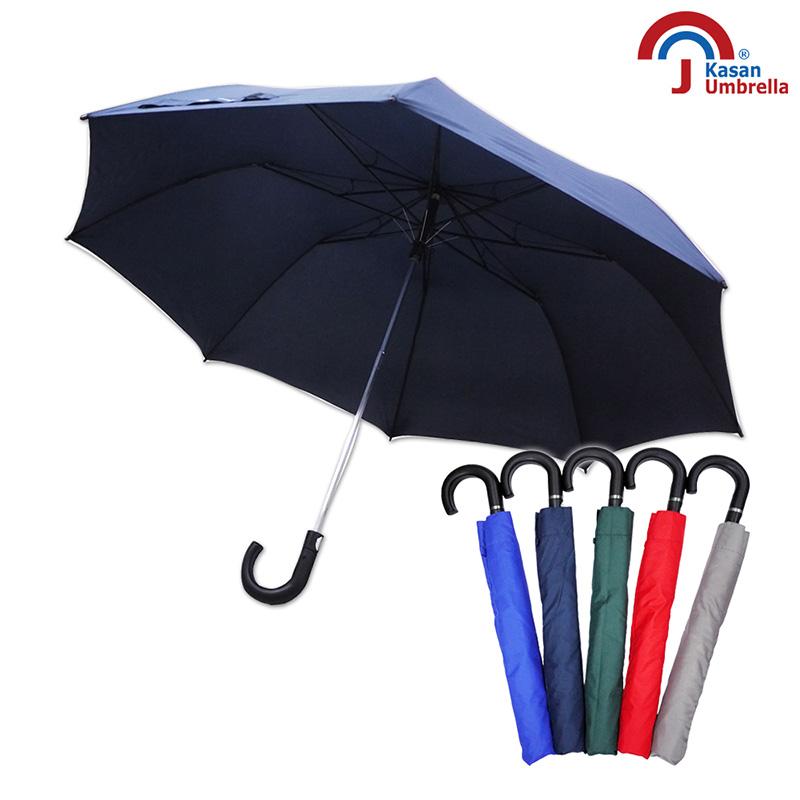 Kasan 晴雨傘 超大防護罩防風半自動雨傘 深藍