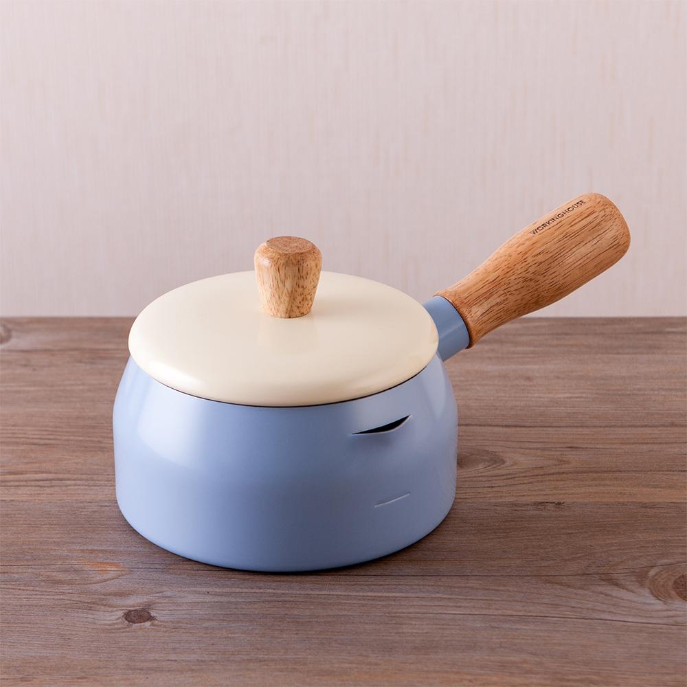 質感生活木柄牛奶鍋-舒適藍-生活工場