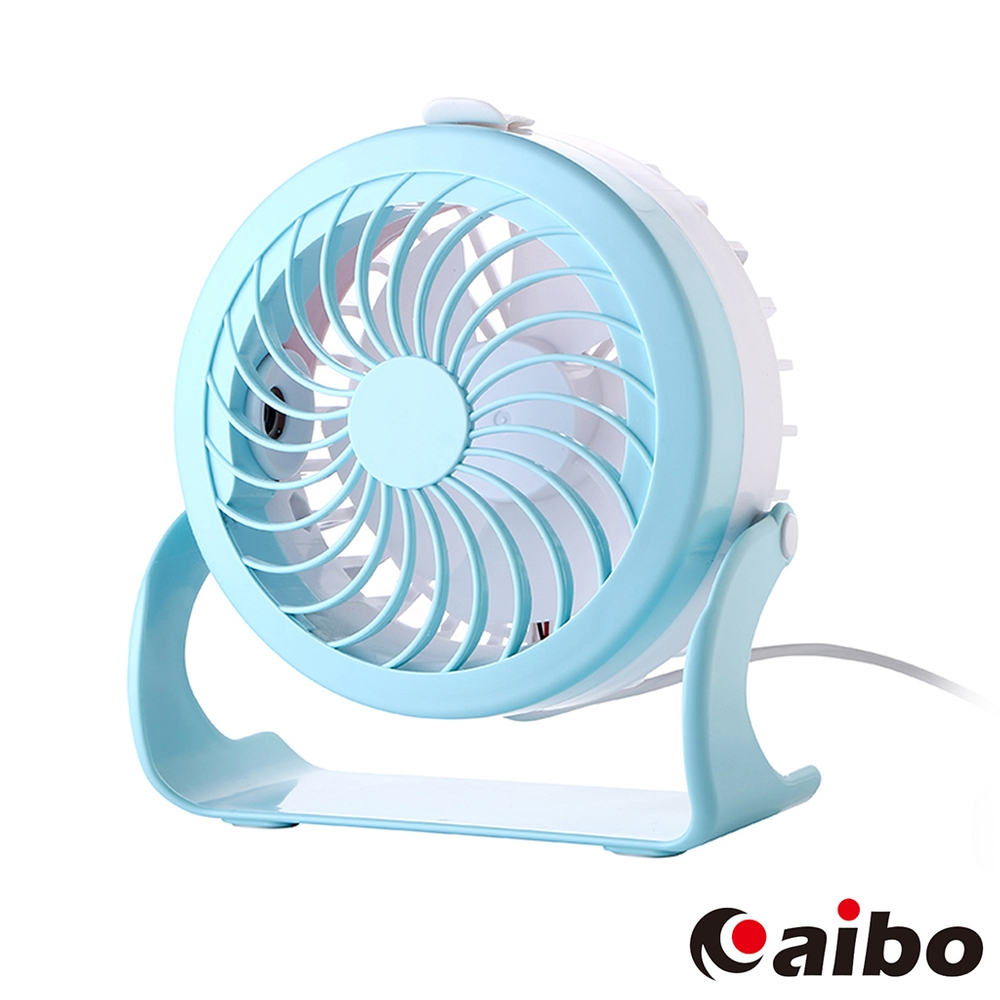 aibo AB12 USB雙噴霧桌上型可調速風扇-粉藍