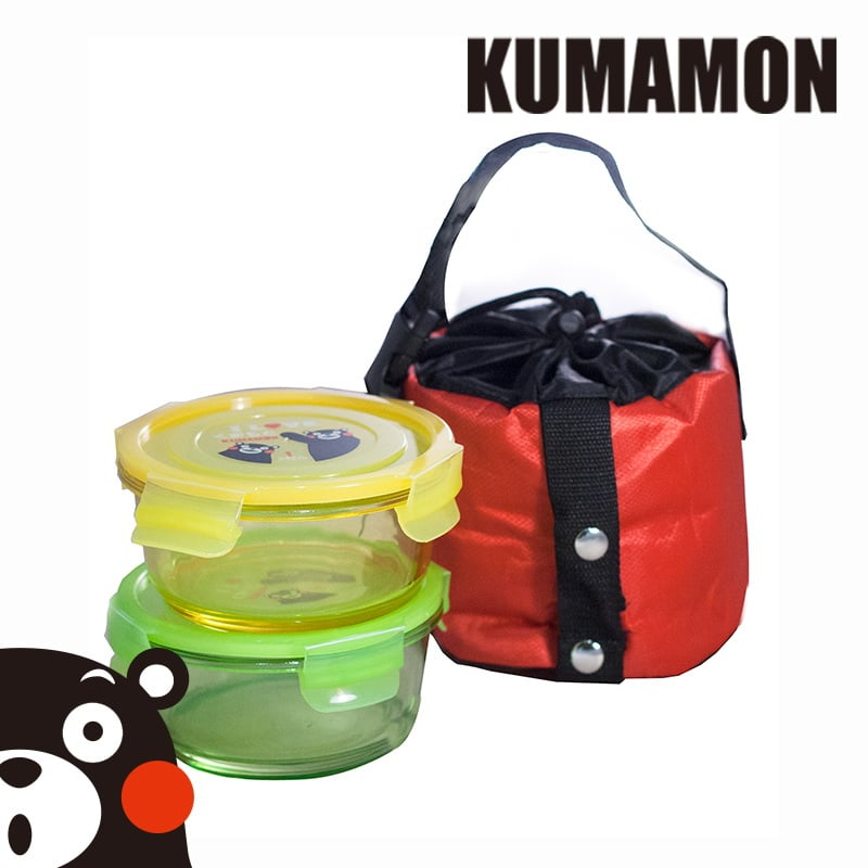 【KUMAMON酷Ma萌】炫彩玻璃保鮮盒提袋組