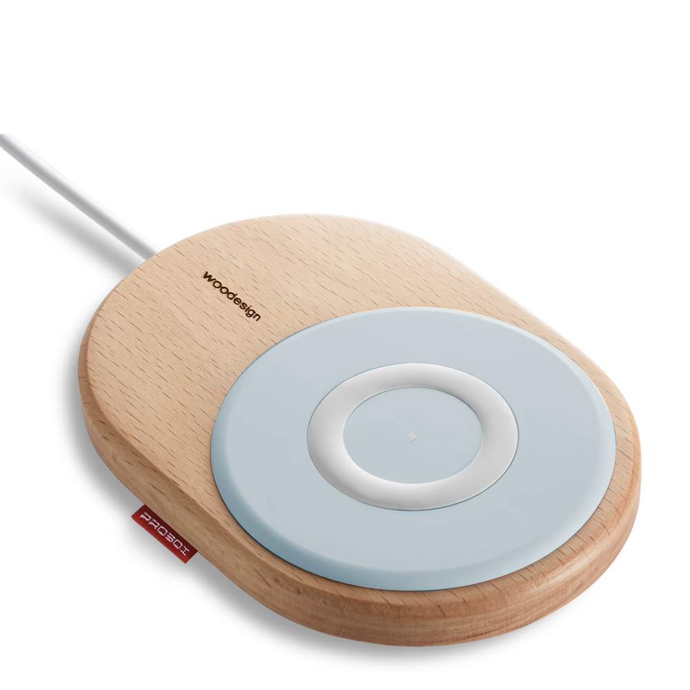 PROBOX 15W 北歐風木質無線充電板-粉藍色